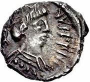 ¼ siliqua Au nom de Justin II, 565-574 (staurogramme ouvert avec point au-dessus) – avers