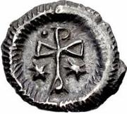 ¼ siliqua Au nom de Justin II, 565-574 (staurogramme ouvert avec point au-dessus) – revers