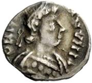 ¼ siliqua Au nom de Justinian I, 527-565 (avec étoiles; cheveux bouclés) – avers