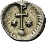 ¼ siliqua Au nom de Justinian I, 527-565 (avec étoiles; cheveux bouclés) – revers