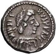 ½ siliqua Au nom de Justin II, 565-574 (staurogramme fermé sans point ci-dessous) – avers