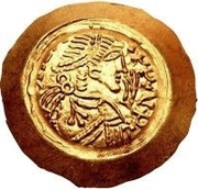 1 tremissis Liutprand (buste régulier; avec main dans le champ) – avers