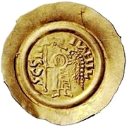 1 tremissis Liutprand (buste épais; avec croix dans le champ) – revers