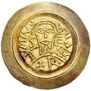 1 tremissis Ratchis (premier règne; avec corps) – avers