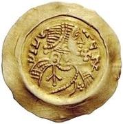 1 tremissis Aripert II (avec croix dans le champ) – avers