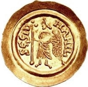 1 tremissis Aripert II (avec lettre dans le champ) – revers