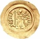 1 tremissis Aripert II (avec main dans le champ) – revers