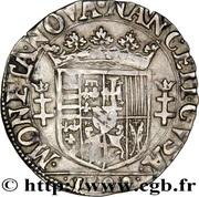 ¼ de teston Charles III (buste vieilli, col plat, datée) – revers
