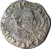 Teston Charles III (buste vieilli, col plat, sans croix de Lorraine couronnée, non datée) – avers