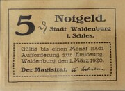5 Pfennig (Waldenburg in Schlesien) -  avers