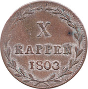 1 Batzen / 10 Rappen – revers