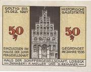 50 Pfennig (Lübeck; Schabbelhaus) – avers