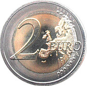 2 euros Introduction de l'euro (10 ans) – revers