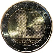 2 euros Grand-Duc Henri – avers