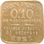 10 Centimes - Chambre Syndicale des Commissionnaires en Primeurs - Lyon [69] – revers