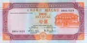 10 Patacas (Banco Nacional Ultramarino; cyan) – avers