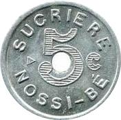 5 centimes Sucrière de Nossi-Bé – avers