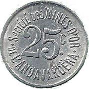 25 centimes - Sté des mines d'or de l'Andavakoëra – revers