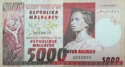 5000 Francs / 1000 Ariary (1975) – avers