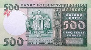 500 Francs / 100 Ariary (1975) -  revers