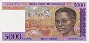 5000 Francs / 1000 Ariary (1995) – avers