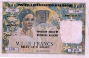 1000 Francs / 200 Ariary – avers
