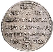 3 Kreuzer - Anselm Franz von Ingelheim (Death) – revers