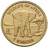 5 kwacha (Faune africaine) – revers