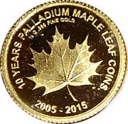 100 francs (10 years palladium mapple leaf) – revers