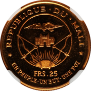 "25 francs (President Modibo Keita; ""1967"") – avers"