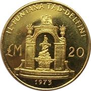 20 Liri (Fontaine des Dauphins) – revers