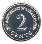 2 cents (10ème anniversaire du système décimal) – revers