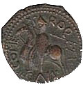 Copper Trifollaro of Roger I (MARIA MATER DNI) – revers
