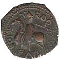 Copper Trifollaro of Roger I (MARIA MATER DNI) – revers