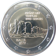 2 euros Temple de Ħaġar Qim -  avers
