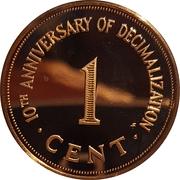 1 cent (10ème anniversaire du système décimal) – revers
