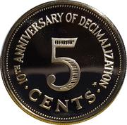 5 cents (10ème anniversaire du système décimal) – revers
