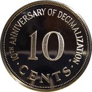 10 cents (10ème anniversaire du système décimal) – revers