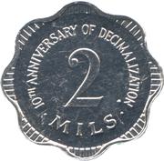 2 mils (10ème anniversaire du système décimal) – revers