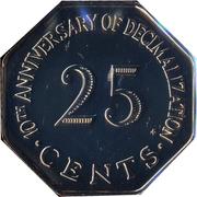 25 cents (10ème anniversaire du système décimal) – revers