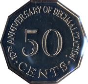 50 cents (10ème anniversaire du système décimal) – revers