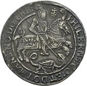 ¼ Thaler - Volrat VI., Wolfgang III., Johann Georg II. (Spruchtaler) – avers