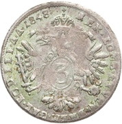 3 kreuzer, 15 centesimi Ferdinand I – revers