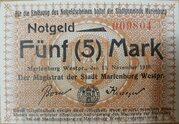 5 mark marienburg – avers