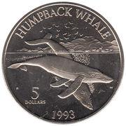 5 dollars (Baleines et dauphins du Pacifique) – revers