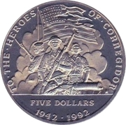 5 dollars (bataille de Corregidor) – revers