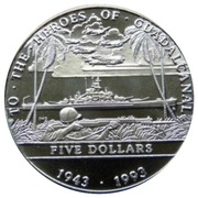 5 Dollars (To the Heroes of Guadalcanal) – revers