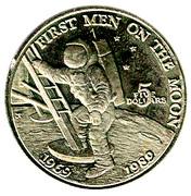 5 dollars (premiers hommes sur la lune) – revers