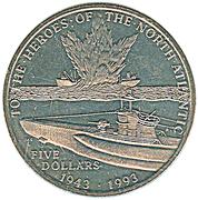 5 dollars  (bataille de l'Atlantique) – revers