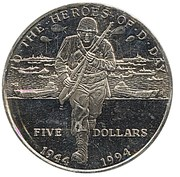5 dollars (débarquement en Normandie) – revers